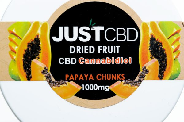 Just CBD Dried Fruit - Papaya Chunks - 1000MG