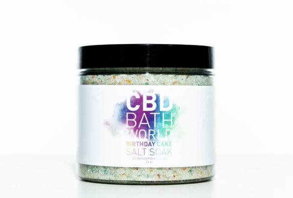 CBD Bath World Salt Soaks - Birthday Cake - 200MG 16oz