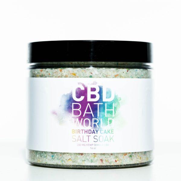 CBD Bath World Salt Soaks - Birthday Cake - 200MG 16oz