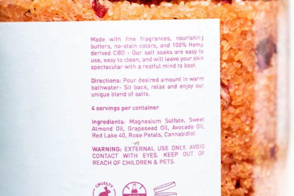 CBD Bath World Salt Soaks - Red Rose - 200MG 16oz