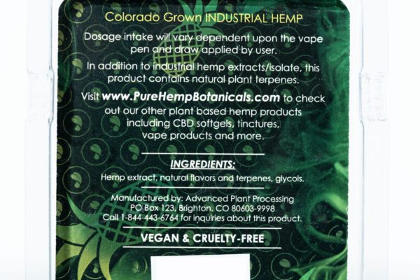 Pure Hemp Botanicals CBD Vape Oil - Pineapple OG - 250MG 0.5G Cartridge
