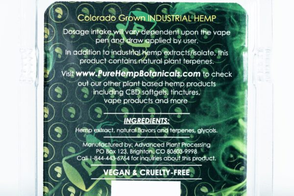 Pure Hemp Botanicals CBD Vape Oil - Grandaddy Purp - 250MG 0.5G Cartridge