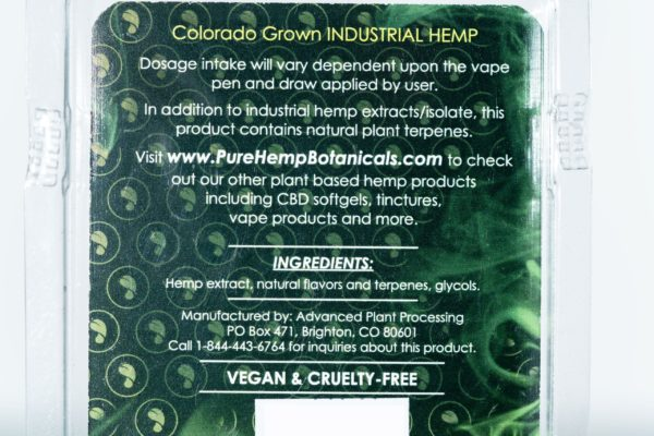 Pure Hemp Botanicals CBD Vape Oil - Pina Colada - 250MG 0.5G Cartridge