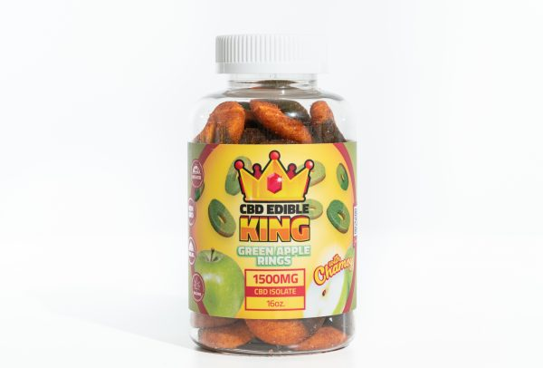 CBD Edible King- Green Apple Rings Chamoy - 1500MG - 16oz 1