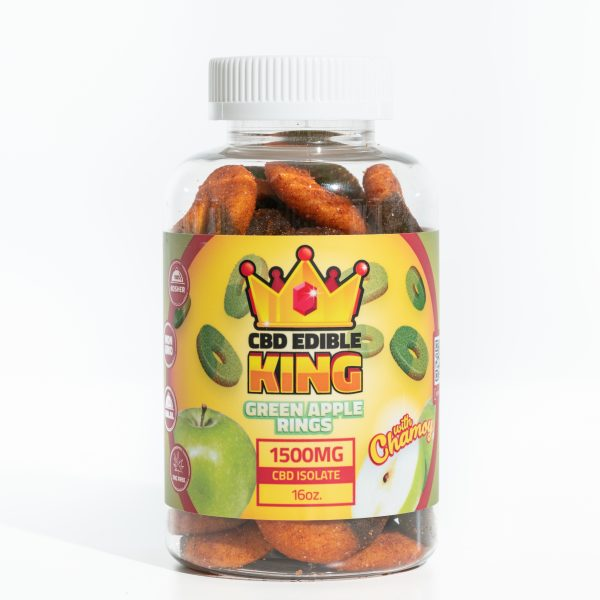 CBD Edible King- Green Apple Rings Chamoy - 1500MG - 16oz 3