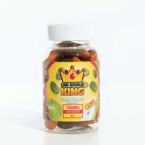 CBD Edible King- Green Apple Rings Chamoy - 750MG - 8oz 2